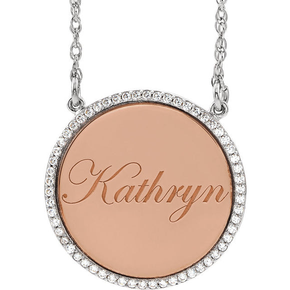 Diamond Personalized Disc Necklace