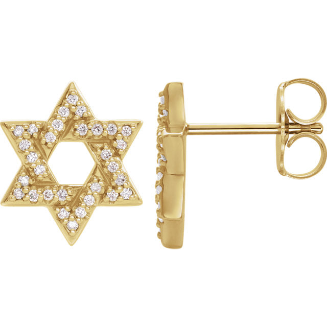 Diamond Star of David Earrings