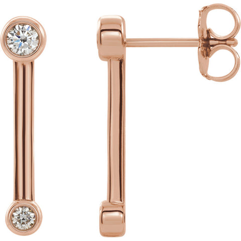 Diamond Bezel-Set Bar Earrings