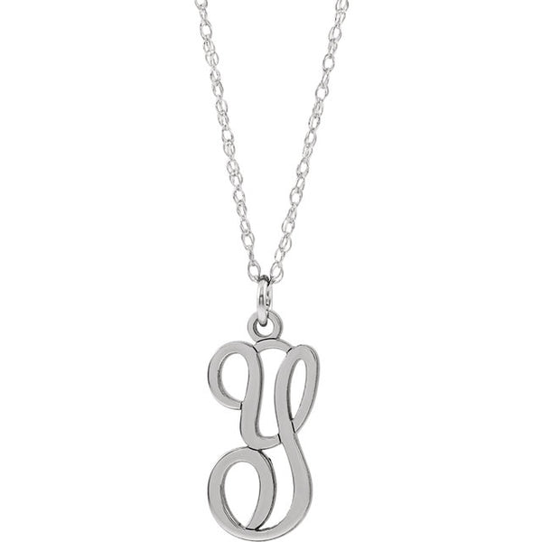 "Script Initial 16-18"" Necklace"