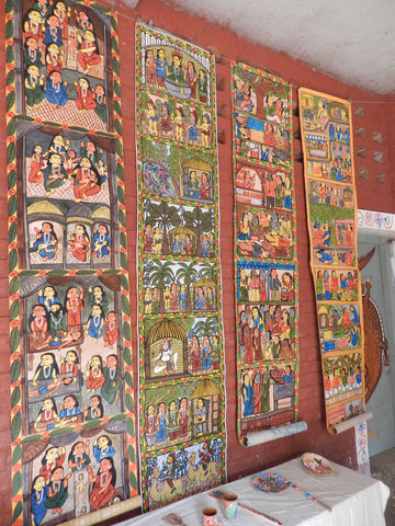 Patua paintings at an artist's house in Naya, West Bengal
