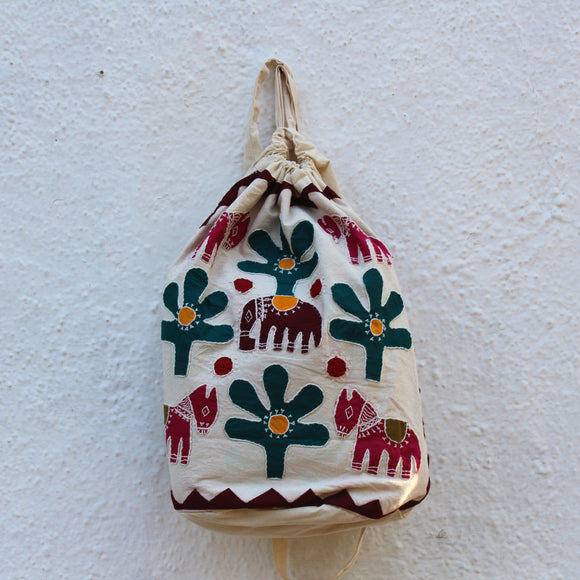 Applique Work Drawstring Bag - Trees