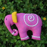 Pink elephant-shaped cushion for children