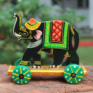 Handpainted Wooden Push along Toy from Varanasi - Elephant