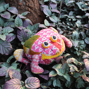 Frog plush toy - Upcycled plush toy with kantha embroidery