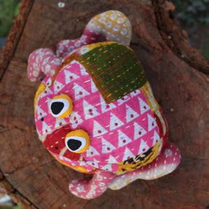 Frog plush toy - Upcycled plush toy with kantha stitch