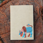 Gond Art Unruled Notebook - Blue coloured bull