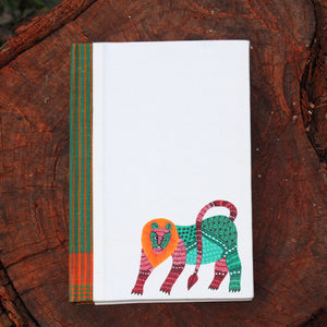 Gond Art Large Notebook - Lion
