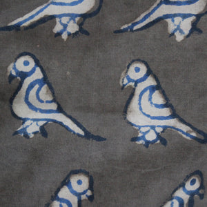 Summer Birds Handblock Printed Fabric - Grey (2 metres cut piece)