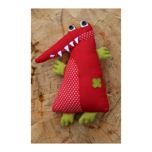 Handmade Plush Toy - A Red Alligator