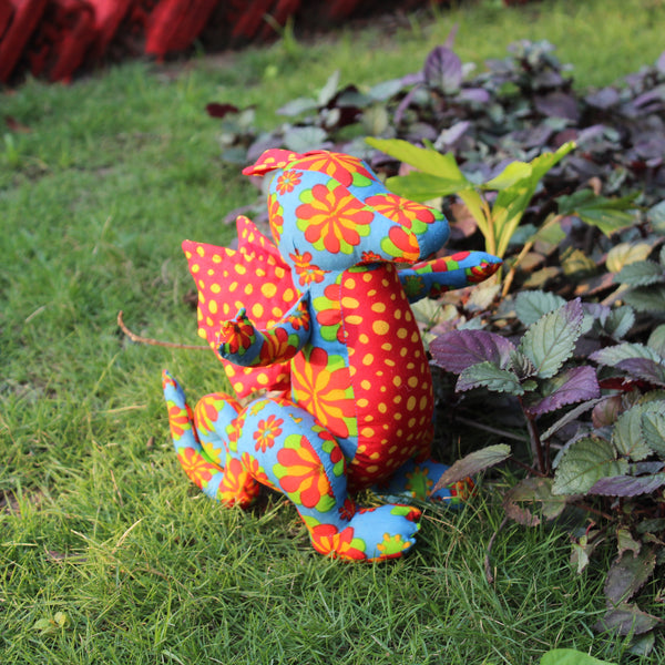 Handmade Plush Toy - Blue and Red Dragon