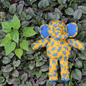 Handmade plush toy - Yellow Blue elephant