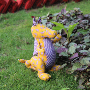 Handmade plush toy - Yellow and Purple Dragon