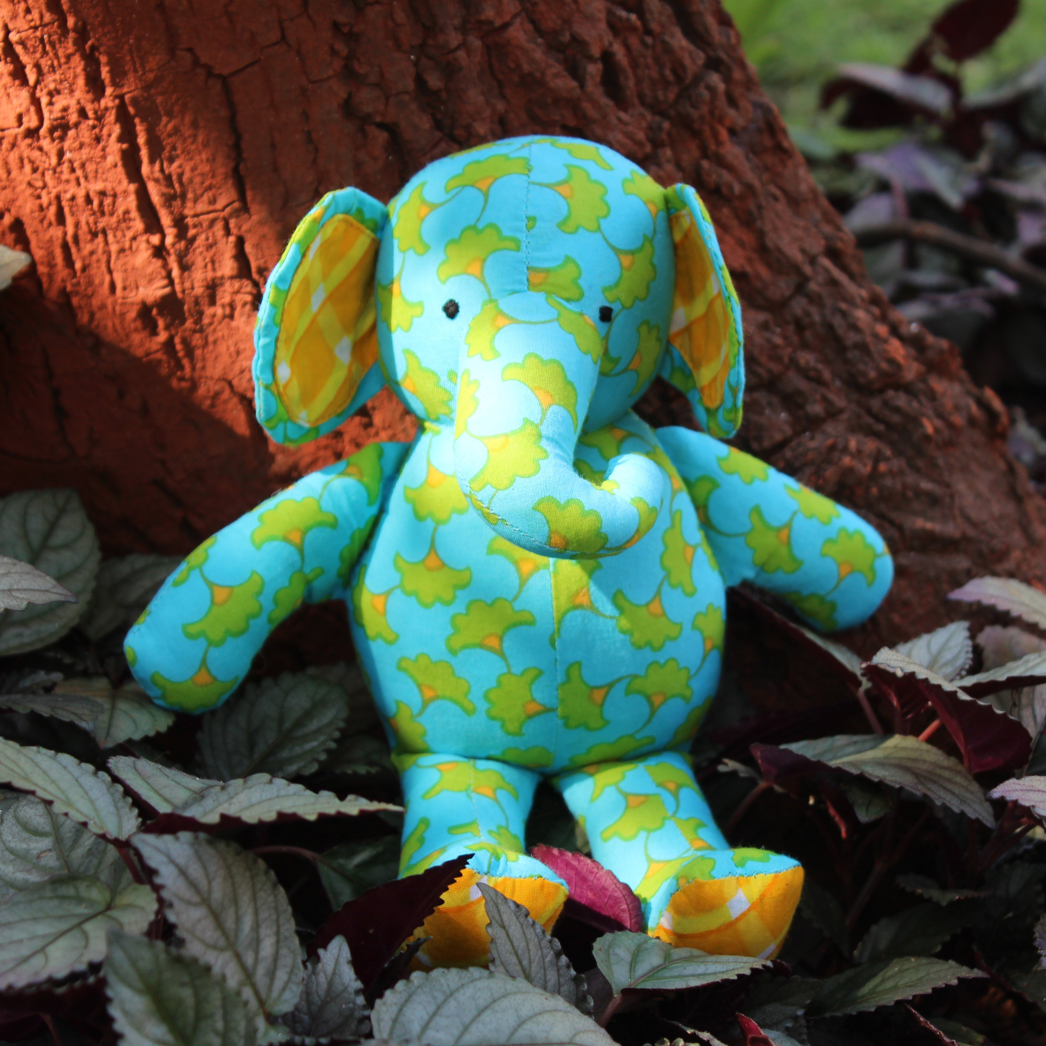 Ella Baby Elephant - Blue with leaves