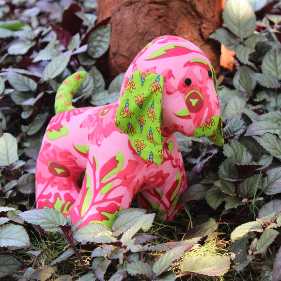 Handmade plush toy - pink and green puppy