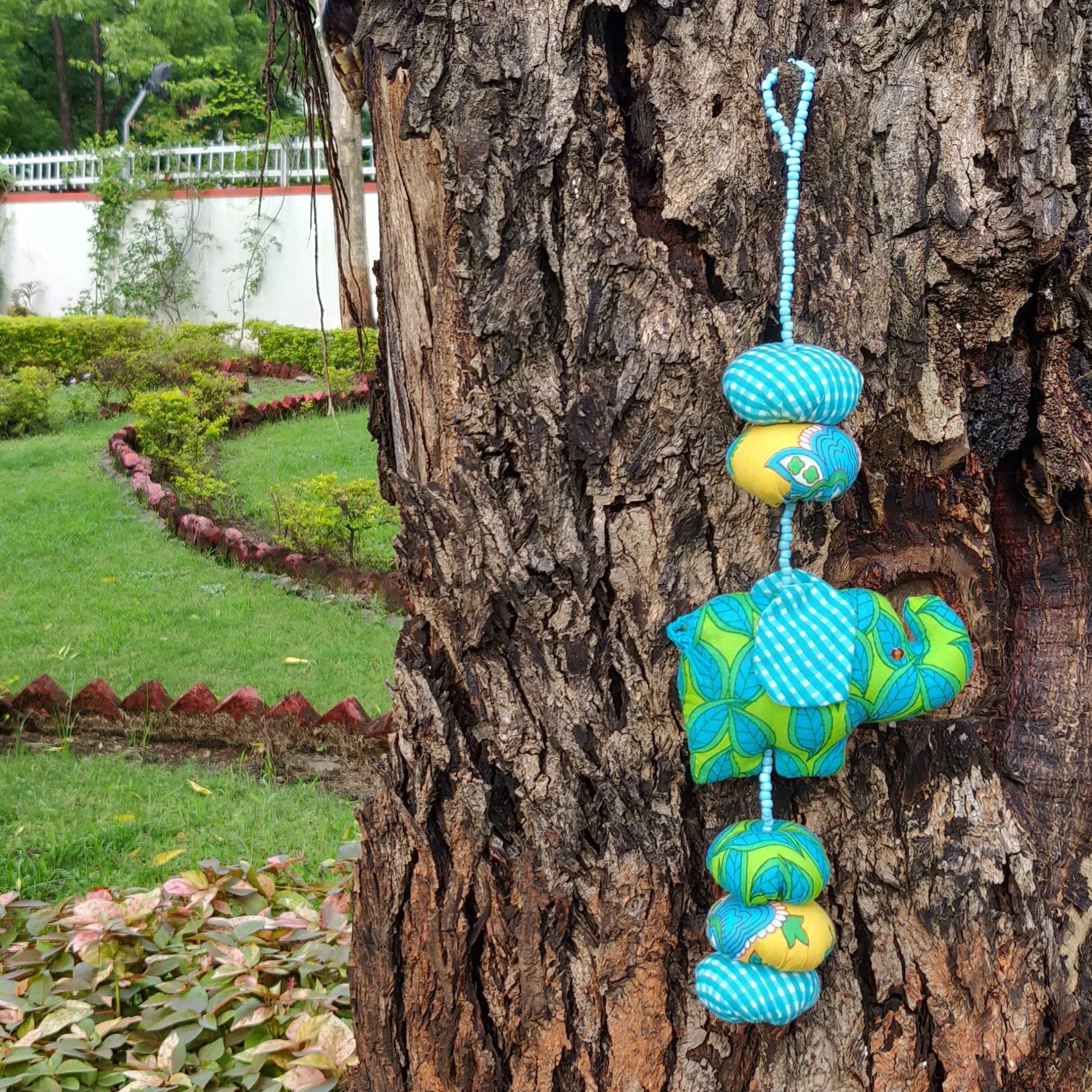 Baby Elephant Mobile - Blue Leaves