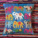 Applique Work Cushion Cover - Elephants