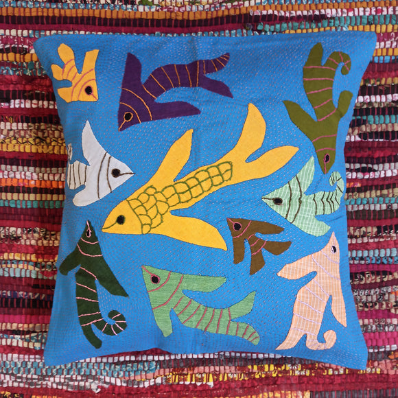 Underwater Magic Applique Work Cushion Cover