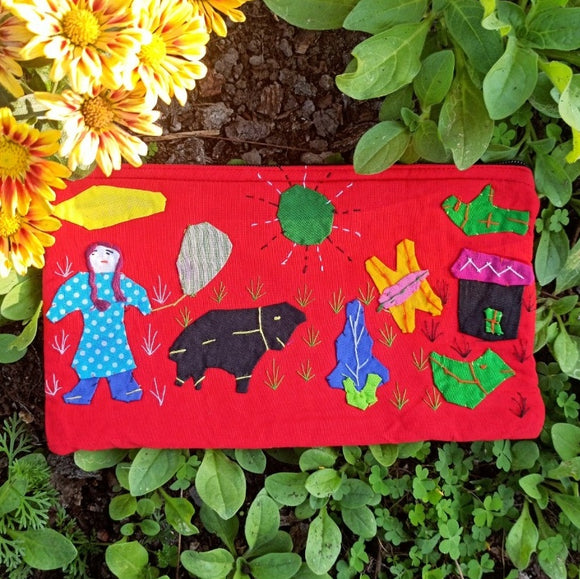 Applique Work Pencil Pouch - Red