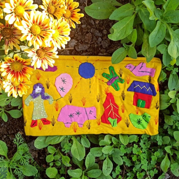 Applique Work Pencil Pouch - Yellow