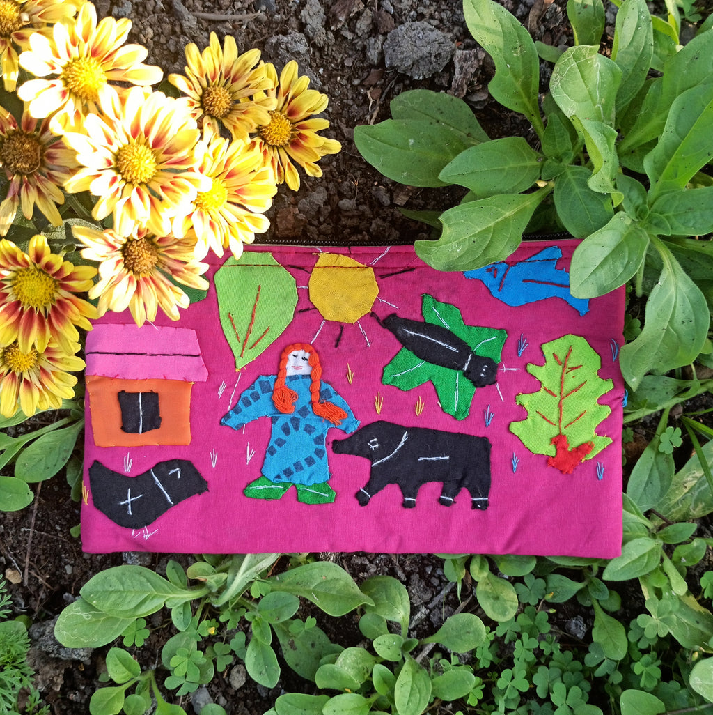 Applique Work Pencil Pouch - Magenta