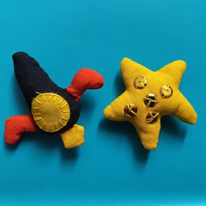 Rocket and Star Fridge Magnet