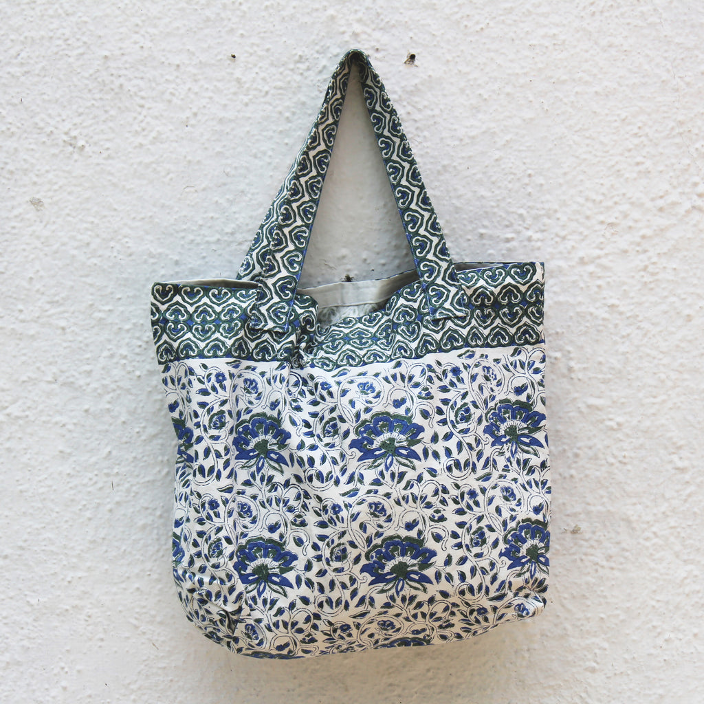 Block Printed Canvas Tote Bag