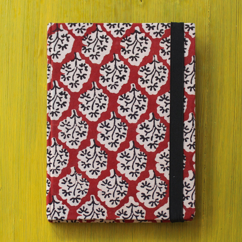 Block Printed A5 Diary - Red and White