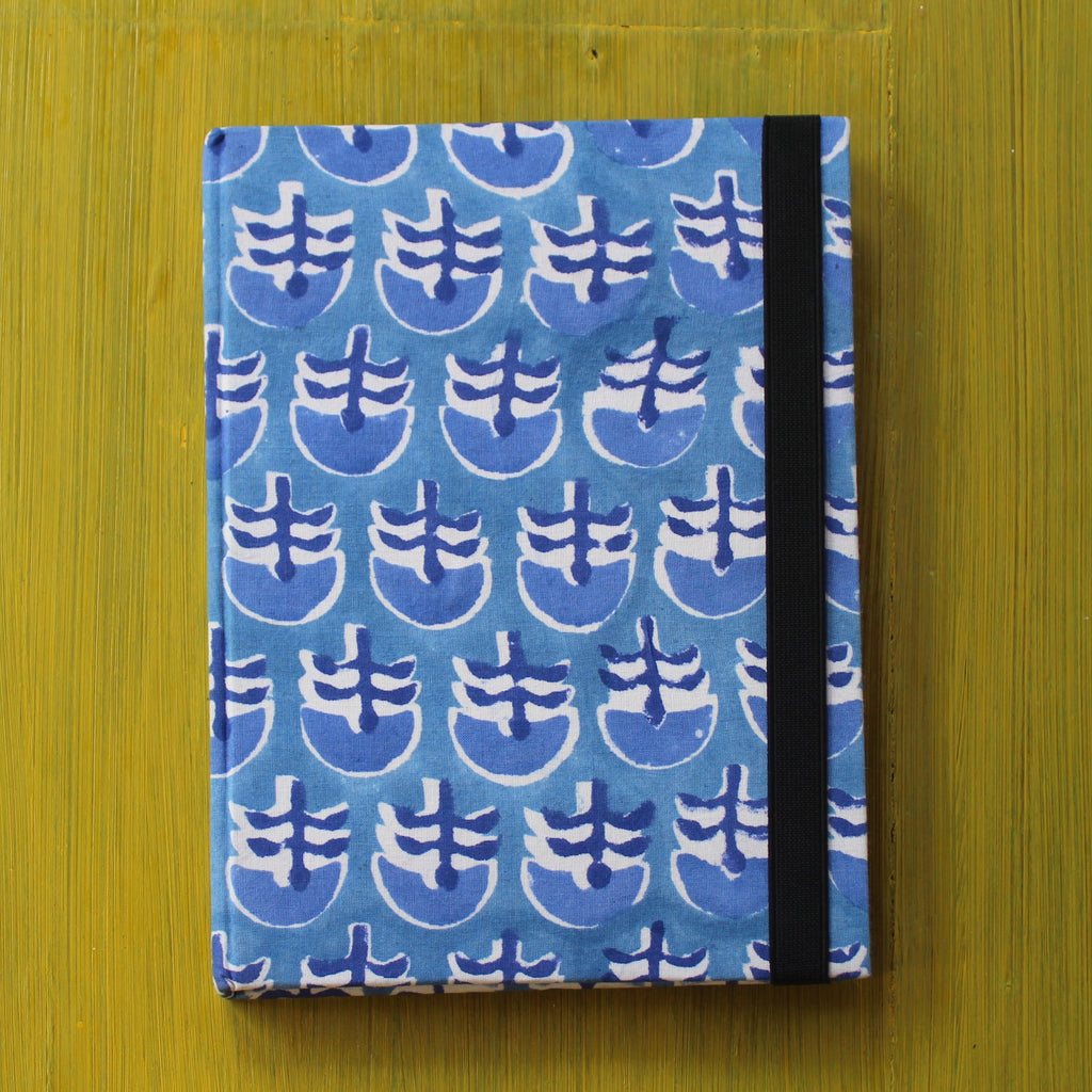 Block Printed A5 Diary - Light Blue