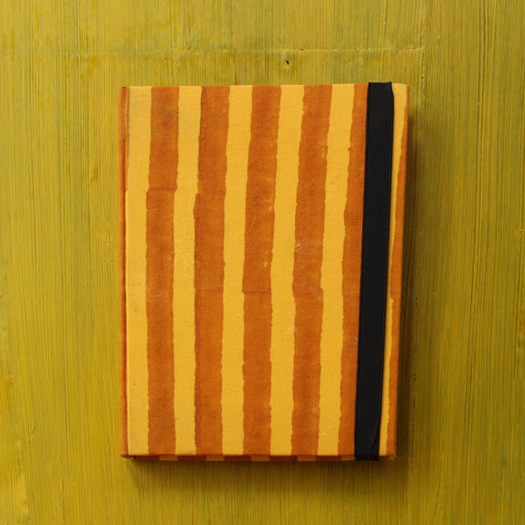 Block Printed A5 Diary - Orange and Yellow