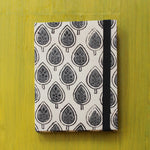 Block Printed A5 Diary - White and Grey