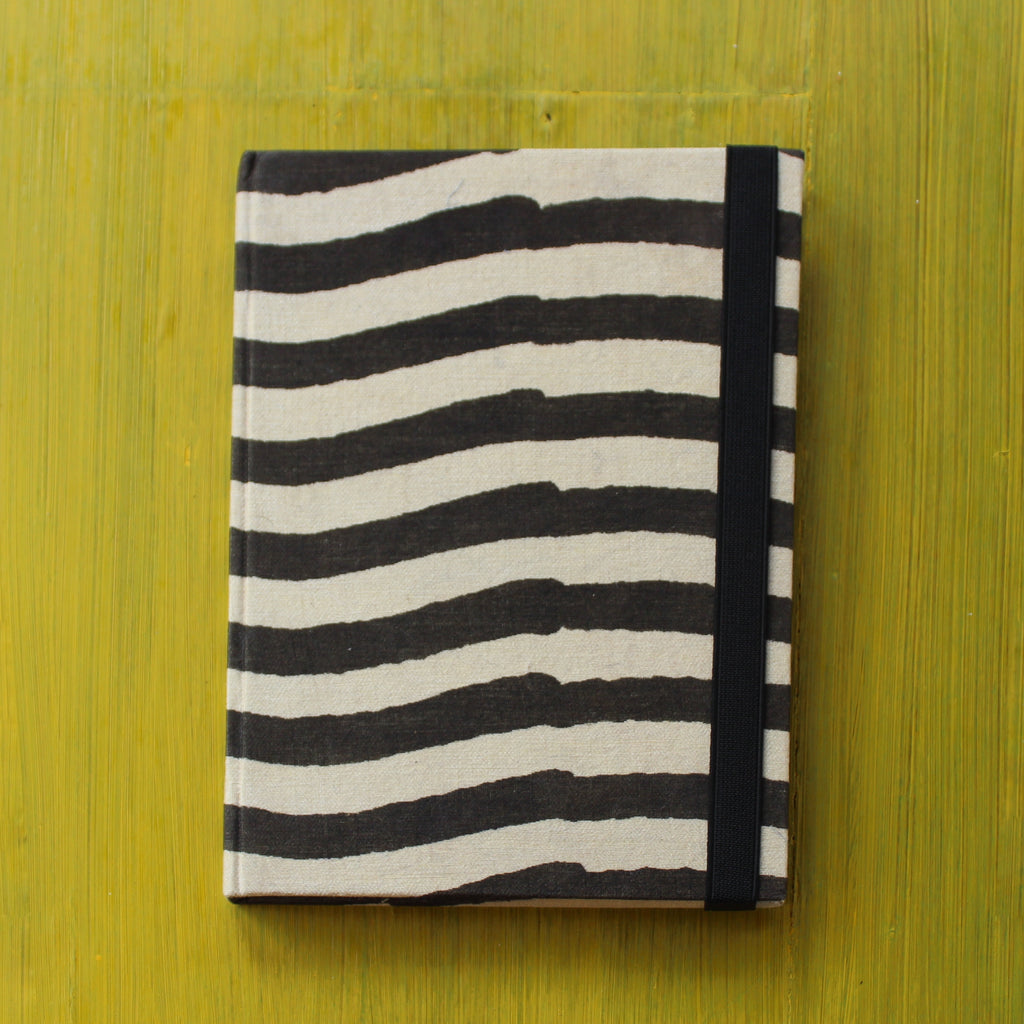 Block Printed A5 Diary - Black and White
