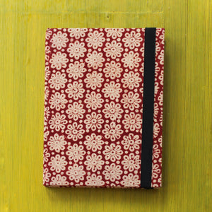 Block Printed A5 Diary - Red and Brown