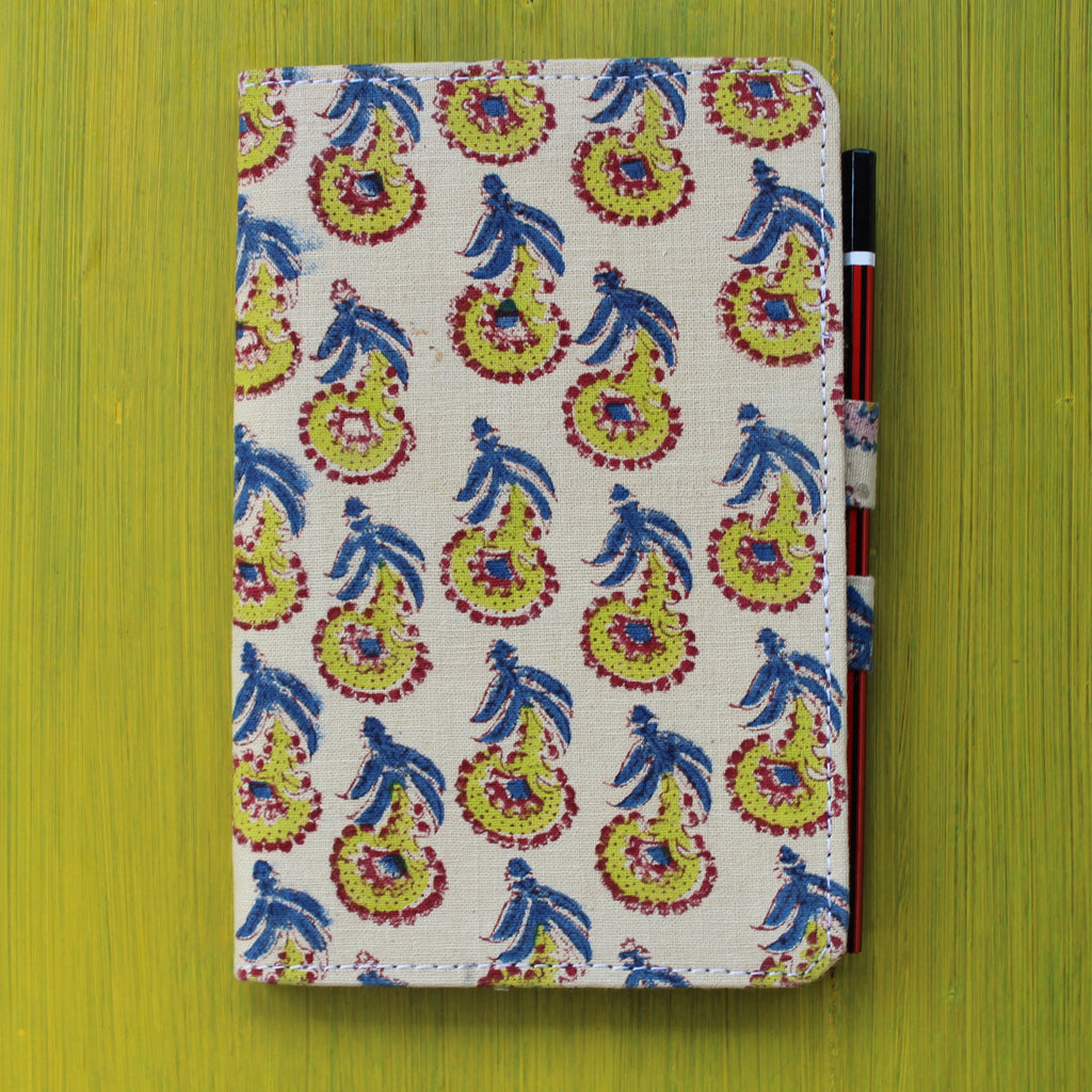 Notebook with Pencil Loop - Blue and Cream