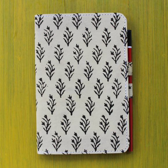 Notebook with Pencil Loop - Black and Cream