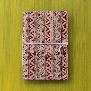 Block Printed A6 Bahi Khata - Brown and Red