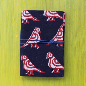 Block Printed A6 Bahi Khata - Black and Red
