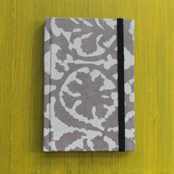 Block Printed A6 Diary - Grey