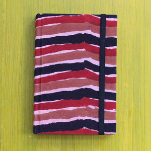 Block Printed A6 Diary - Brown and Red