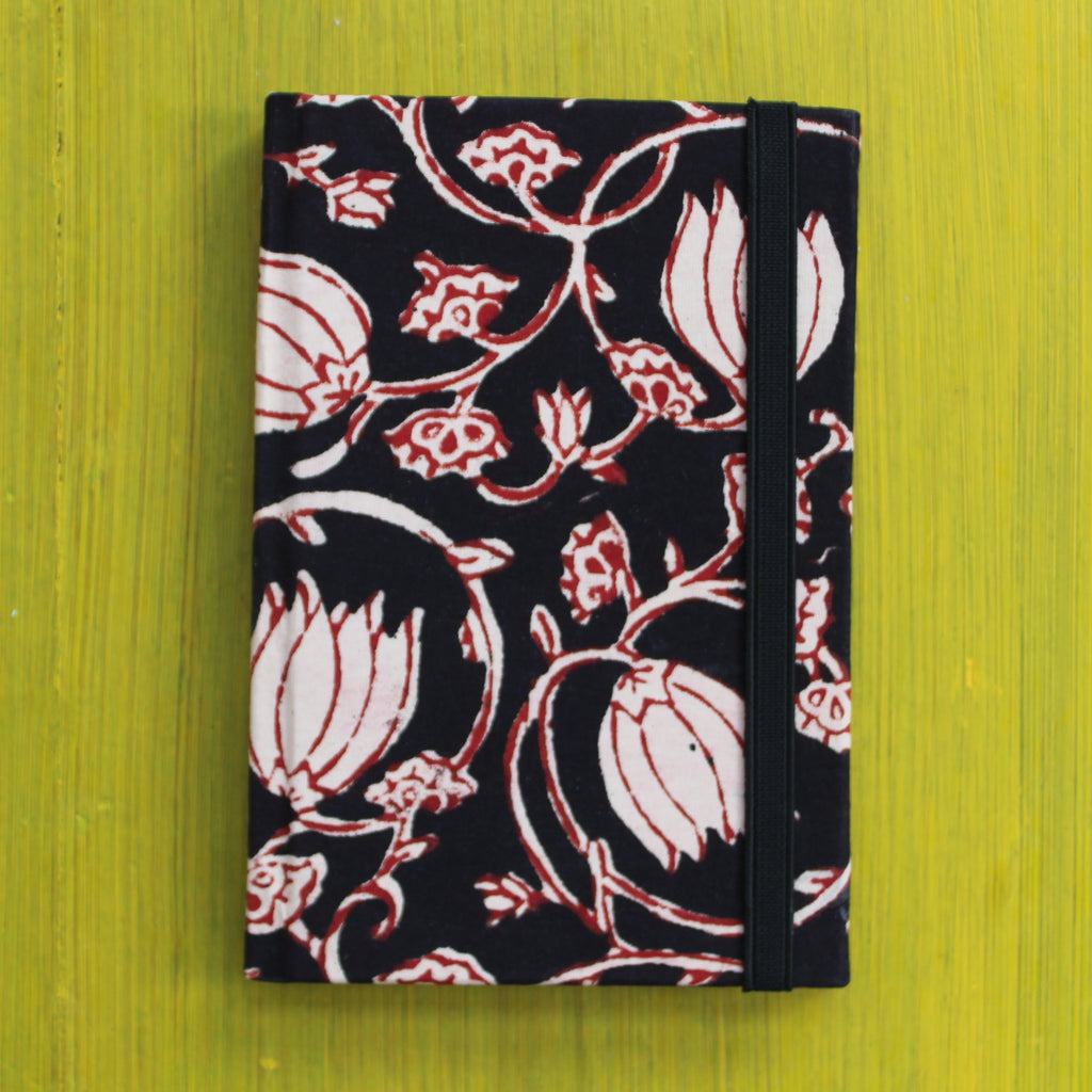 Block Printed A6 Diary - Black and Red
