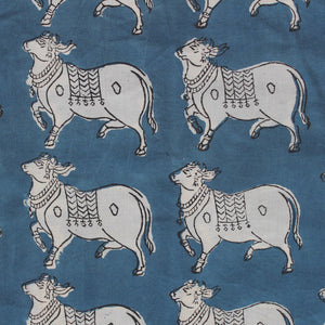 Nandi Handblock Printed Fabric - Blue