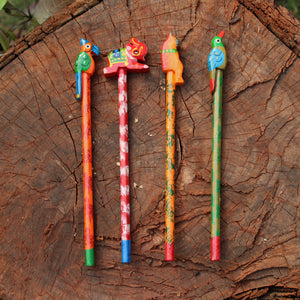 Handpainted Wooden Pencils - Set Of Four (Assorted)