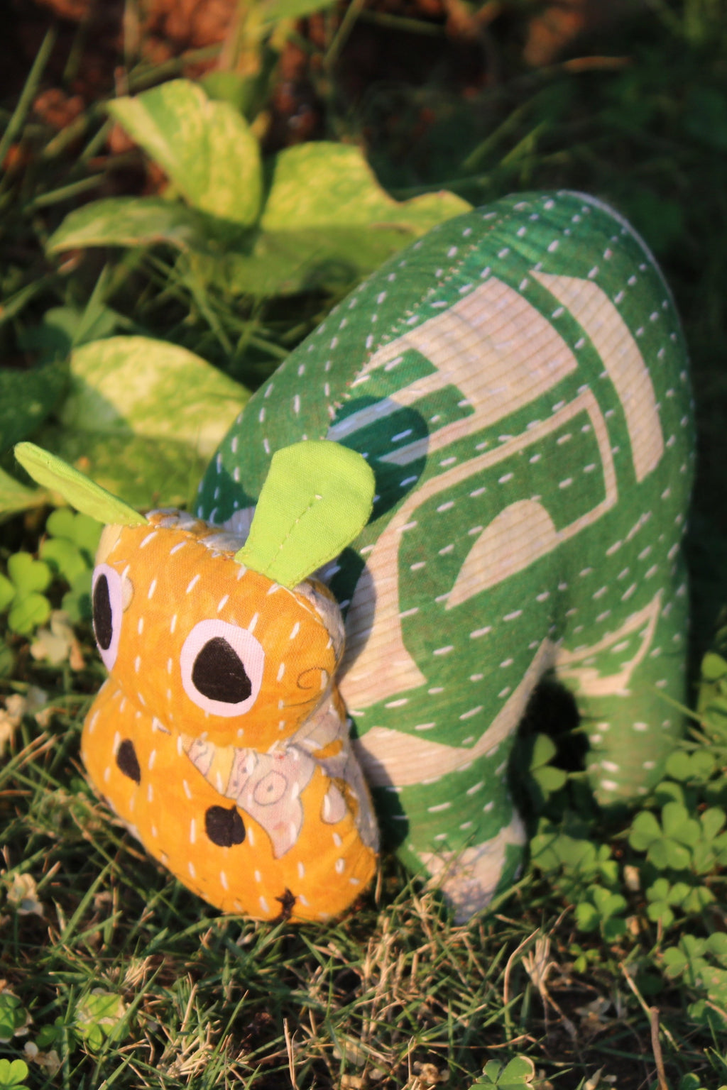 Hippo - Upcycled Plush Toy with Kantha Embroidery