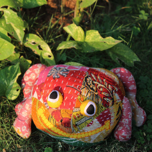 Frog - Upcycled plush toy with kantha embroidery