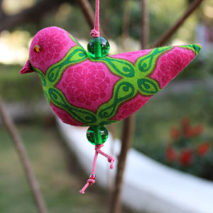 Pink And Green Bird Ornament