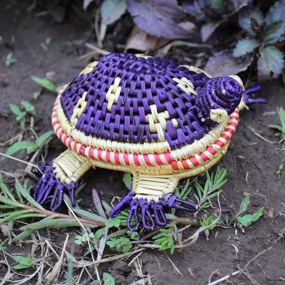 Turtle shaped storage box in purple