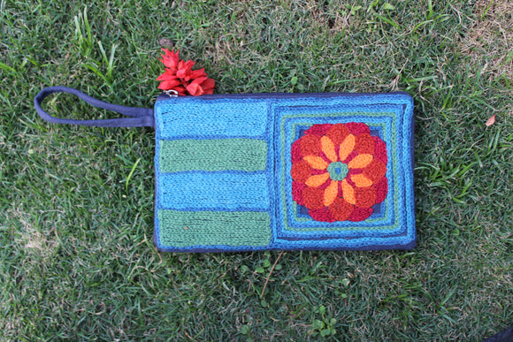 Hand Embroidered Wristlet