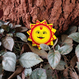 Wooden hand painted sun fridge magnet