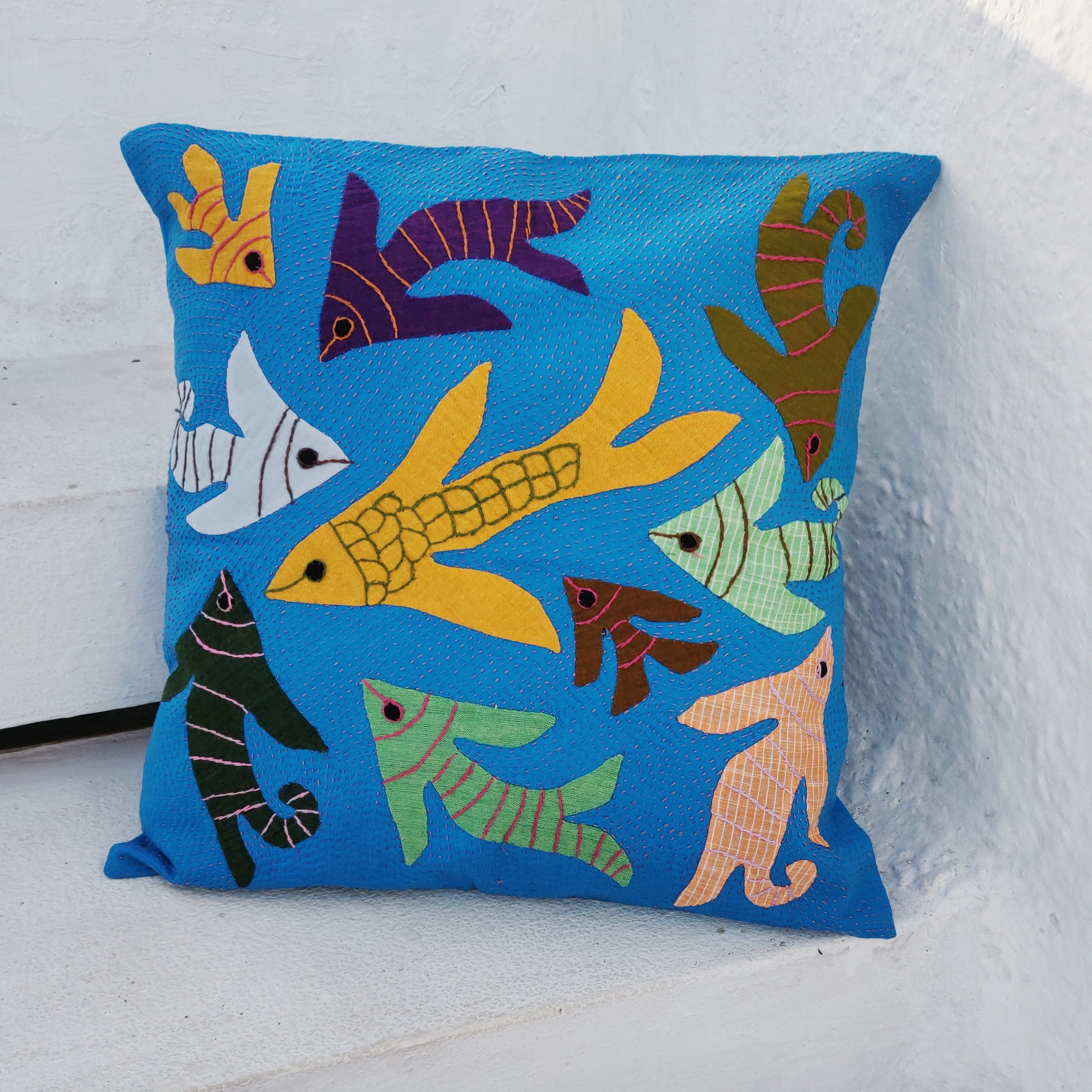 Applique work Cushion Cover - Fishes - Blue