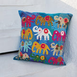 Applique work Cushion Cover - Blue - Elephants